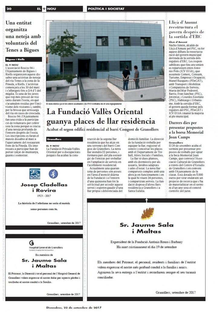 Portada premsa Fi obres nova llar Granollers El9Nou 22 set 1770922_valles_diari